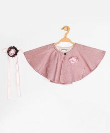 Peppermint Short Sleeve Flared Silhouette and Textu Fabric Pattern Cape - Pink (10-11Y)