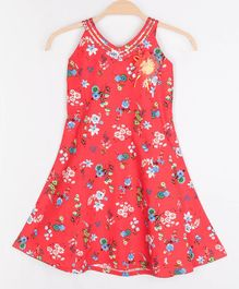 Peppermint Sleeveless Flower Print Dress - Red