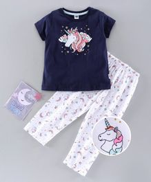 Teddy Half Sleeves Night Suit Unicorn Print - Navy Blue