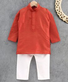 Ridokidz Full Sleeves Solid Colour Kurta & Pajama Set - Orange