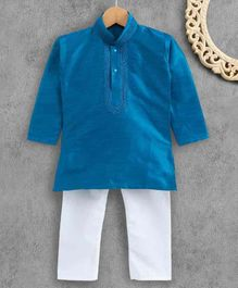 Ridokidz Full Sleeves Solid Colour Kurta & Pajama Set - Blue