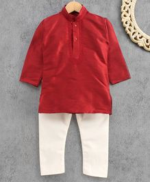 Ridokidz Full Sleeves Solid Colour Kurta & Pajama Set - Maroon