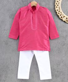 Ridokidz Full Sleeves Solid Colour Kurta & Pajama Set - Pink