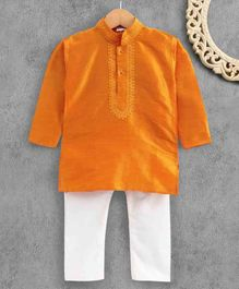 Ridokidz Full Sleeves Solid Colour Kurta & Pajama Set - Mustard