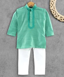 Ridokidz Full Sleeves Solid Colour Kurta & Pajama Set - Parrot Green