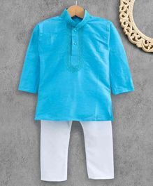 Ridokidz Full Sleeves Solid Colour Kurta & Pajama Set - Sky Blue