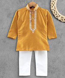 Ridokidz Full Sleeves Diamond Design Kurta & Pajama - Mustard