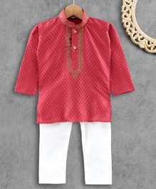 Ridokidz Full Sleeves Diamond Design Kurta & Pajama - Pink