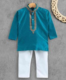 Ridokidz Full Sleeves Self Design Kurta & Pajama Set - Blue