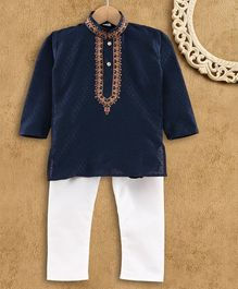 Ridokidz Full Sleeve Diamond Design Kurta Pajama - Navy Blue
