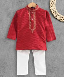 Ridokidz Full Sleeves Self Design Kurta & Pajama Set - Maroon