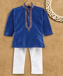 Ridokidz Full Sleeve Diamond Design Kurta & Pajama - Royal Blue