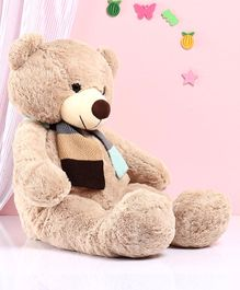 Dimpy Stuff Teddy Bear With Knitted Muffler Beige - Height 80 cm