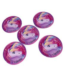Karmallys Unicorn  Print Paper Plates Purple - Pack of 5