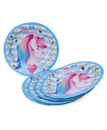 Karmallys Unicorn  Print Paper Plates Blue - Pack of 5
