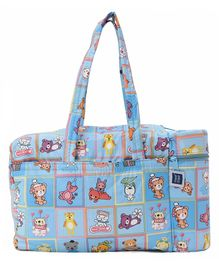 Mee Mee Check Diaper Bag With Warmer Bear Print - Blue
