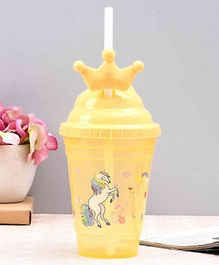 Unicorn Print Straw Sipper Yellow - 500 ml