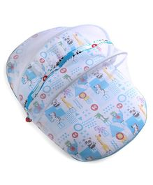 Fisher Price Mosquito Net with Mattress and Pillow Animal Print - Blue White