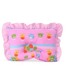 Montaly Rectangular Frilled Baby Pillow Animal Print - Pink