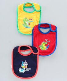 Cucumber Printed Baby Bib Pack of 3 - Yellow Blue Red