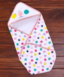 Doreme Hooded Wrapper Polka Dot Print - Peach