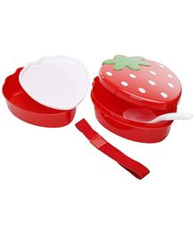 Fab N Funky Strawberry Pattern Lunch Box - Red