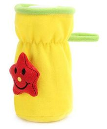 Babyhug Plush Bottle Cover Cute Star Motif Medium - Yellow