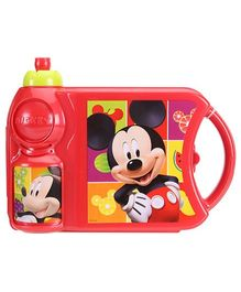 Disney Mickey Mouse And Friends Lunch Box With Attached Water Bottle - Red