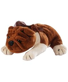 Soft Buddies Lying Bull Dog Soft Toy Dark Brown Medium - Height 27 cm