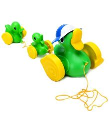 Giggles Wiggler Pull Along Duck Toy - Green
