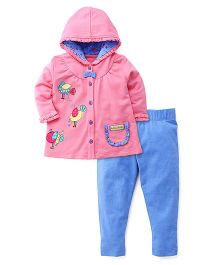 6749ea97128 FS Mini Klub Full Sleeves Hooded Top And Leggings Bird Patch - Pink Blue