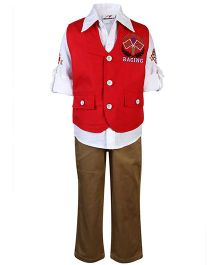 Formula 1 Shirt And Pant With Jacket - Red And White