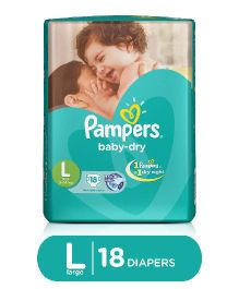 Pampers Baby Dry Diapers Large - 18 Pieces