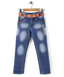 New York Polo Academy Dual Tone Jeans With Belt
