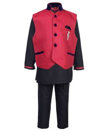 Active Kids Wear Three Piece Ethnic Wear Set - Black And Red