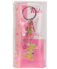 Trudi Key Ring Rabbit With Hearts - Multi Colour