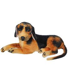 Tickles Sitting Dog Soft Toy Black And Brown - 33 cm