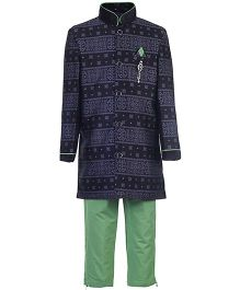 Active Kids Wear Kurta And Pajama Abstract Print - Black And Green