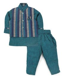 Active Kids Wear Jodhpuri Kurta And Pajama With Jacket Stripes - Blue