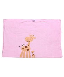Tinycare Baby Blanket Pink - Giraffe Embroidery