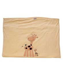 Tinycare Baby Blanket Beige - Giraffe Embroidery