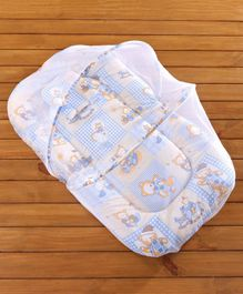 Babyhug Printed Mosquito Net With Mattress - Blue