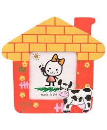 Cow Motif Wooden Photo Frame House Shape - Red And Yellow