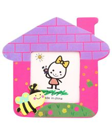 Bee Motif Wooden Photo Frame House Shape - Pink And Purple