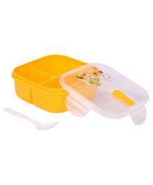 Lunch Box With Spoon Animal Cartoon And Smile Print - Yellow