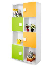 Alex Daisy Four Layer Wooden Bookcase - Yellow And Green