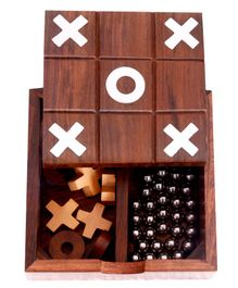 Desi Toys Wooden 2 in 1 Solitaire & Tic Tac Toe Game - Brown