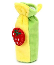 Babyhug Plush Bottle Cover Strawberry Motif Large - Yellow And Green