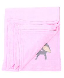 Honey Bunny Coral Baby Blanket Deer Embroidery - Pink
