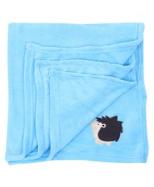 Honey Bunny Coral Baby Blanket Porcupine Embroidery - Blue